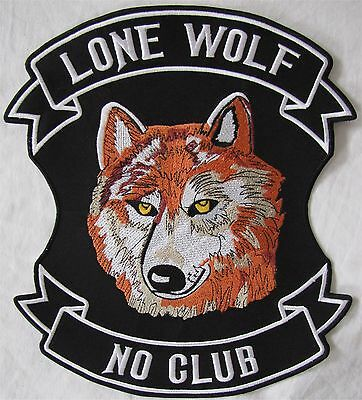 Rare Large Colour Lone Wolf No Club Motorcycle Biker Embroidered Sew Badge Patch