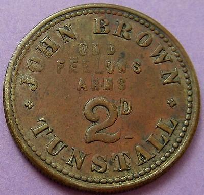Pub Token 2d  - John Brown, Oddfellows Arms, Tunstall.............Ju170