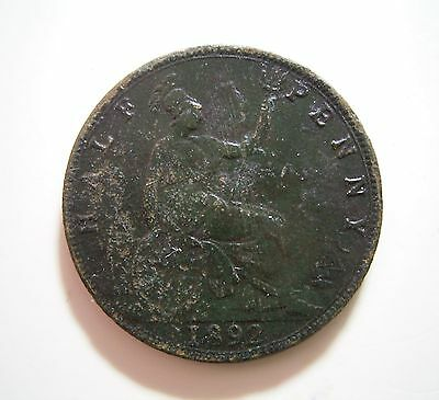 UK Britain 1892 Half Penny ... Reasonable Condition as Photos