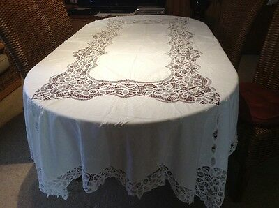 Vintage Batternburg White With White Embroidery Tablecloth 258 Cm X 170 Cm