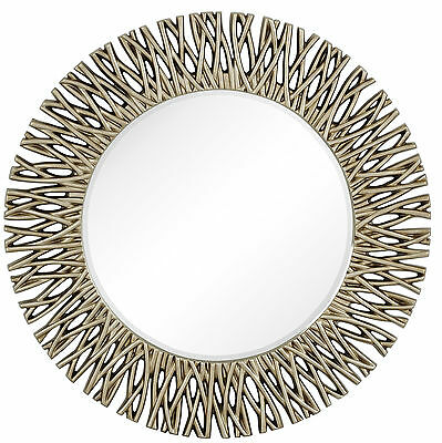 Large Round Antique Silver Decorative Beveled Glass Wall Mirror Majestic Mirror