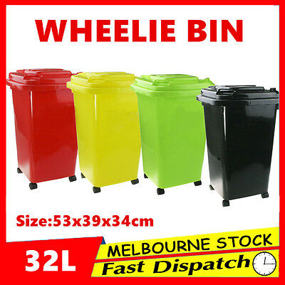 32L Mini Small Wheelie Storage Bin Rubbish Trash Trolley Lid Wheels Toy Laundry