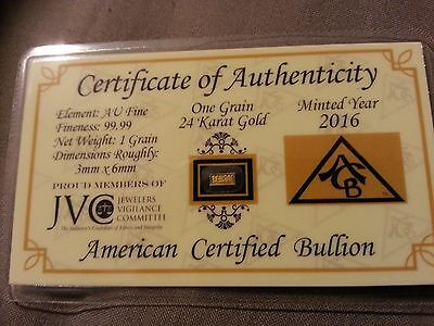 1 Solid Pure .999 Fine 24k Gold Bullion Bar - 1 Grain (Not Gram)