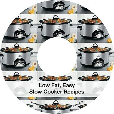 1500+ Low Fat Easy Cooking Slow Cooker Crockpot Recipe Books Book on CD