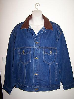Vintage Denim jacket Marlboro Country Store blue jean with leather collar size M