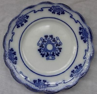 "Art Nouveau W.H.Grindley FB ""Lorne"" - Blue Flow Scalloped Soup Plate, 9.5"""