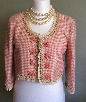 Moschino Cheap And Chic Houndstooth Pink/Peach And Cream Bolero, Jacket, Size 12