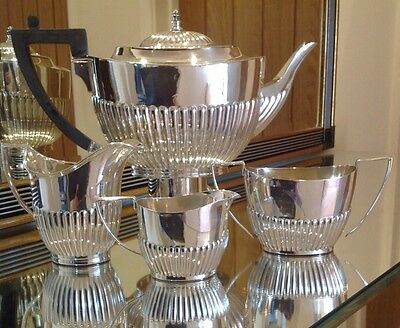 Vintage Silver Plated Tea Service Of Reeded Design By William Hutton & Sons