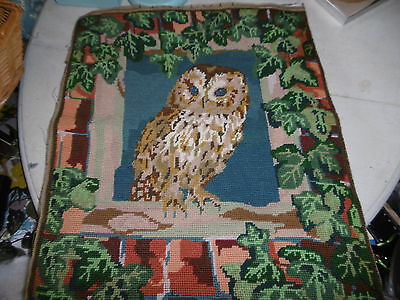 Vintage completed needlepoint tapestry picture owl