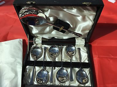 Vintage Silver Plate Boxed Set Of 6 Pairs Desert Spoons & Serving Spoon