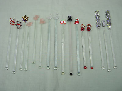 Retro Collection of SWIZZLE STICKS. (16) Mostly Glass. Stirrers. Bar. Cocktail