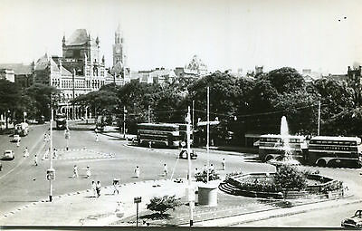 1950s postcard Buses at Flora Fountain crossroads BOMBAY India