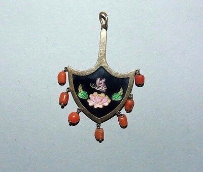 Vintage Oriental Chinese Silver & Enamel Pendant. Salmon Coral. Water Lily.