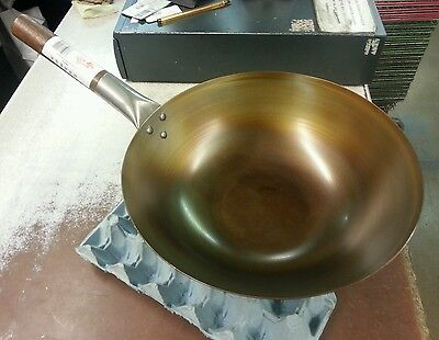 Oriental/Chinese Carbon Steel  Wok 12 inch (Flat-bottom Seasoned) ready to cook