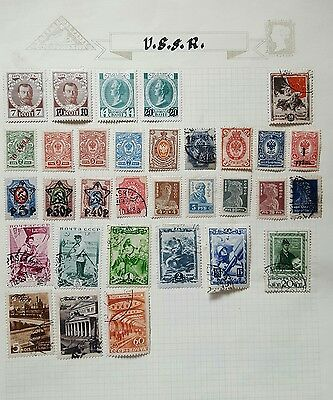 RUSSIA-USSR Mixed Collection of MH ana Used stamp on 3 album pages-see scan