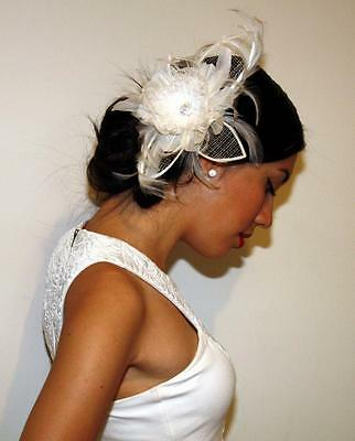 Bridal Wedding Diamante Feather Clip bridal Hair Accessory Headpiece Fascinator