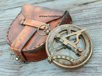 Antique Brass Sundial Compass Marine Nautical Push Button Compas w/ Leather case