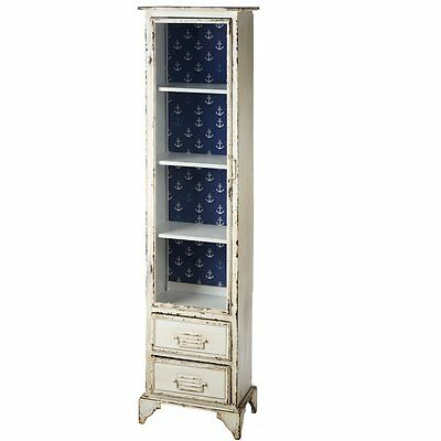 Prentiss Tall Distressed Cabinet with Anchor Pattern Breakwater Bay (NEW)