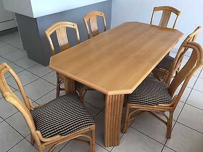 Salle manger en rotin 6 chaises 1 table eur 49 99 for Table a manger en rotin
