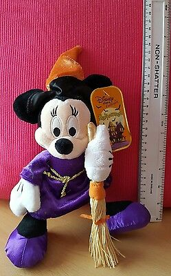 halloween disney minnie mouse toy witch with a broom bnwt. Cuddly toy .