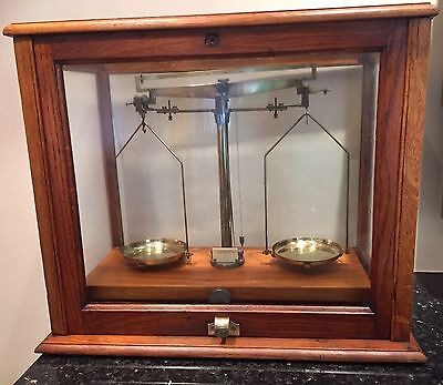 Antique Laboratory Brass Scales In Mahogany Glass Box