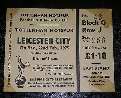 1974/75 TOTTENHAM HOTSPUR v LEICESTER CITY  Division 1  original match  ticket
