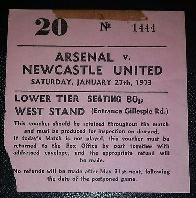 1972/73 DIVISION 1 ARSENAL v NEWCASTLE UNITED    original match ticket