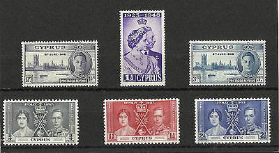 Cyprus - George VI selection of H/Mint stamps - Coronation & Victory Sets
