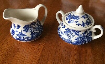 English Ironstone Old Blue Willow Lidded Sugar Bowl and Milk Jug