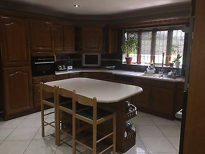 Kitchen Units - Solid oak wall and base units including integrated appliances