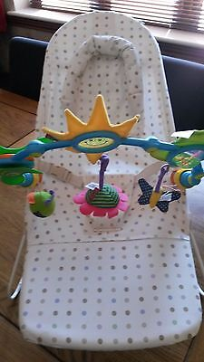 Mothercare bouncing chair cradle with Tiny Love stroller/buggy play arch