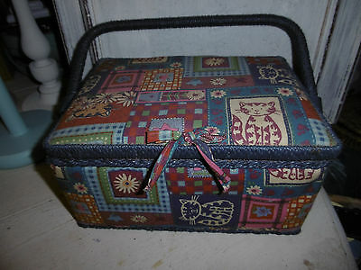 Vintage sewing box basket & contents including buttons threads scissors