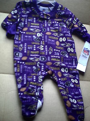 NEW BALTIMORE RAVENS  Infant NFL Football Baby Zip Footed Sleeper Pajamas 6M