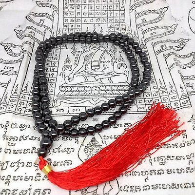 "6mm 12"" Leklai Yoga Mala 108 Bead Buddha Amulet Hematite Sacred Prayer Necklace"
