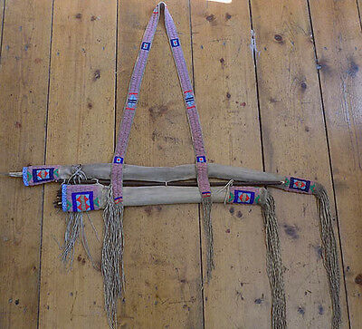Native American Plains Cheyenne fully beaded elk hide quiver and bow case