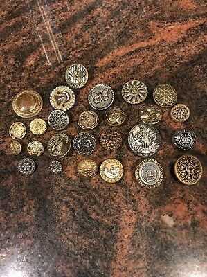 26 Antique and Vintage Cut Steels and Brass Metal Sewing Buttons Lot