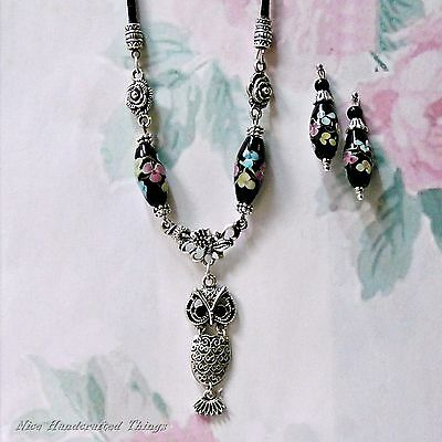 Owl Charm and black lampwork bead silver necklace earrings set Vintage Style