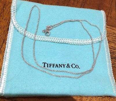 Gregory Jewellers 18k White Gold Solid Italy Chain Necklace $410 + Tiffany Pouch