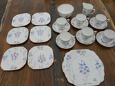 Vintage Wellington J. H. Cope & Co. China Deco Tea Set 21 pieces Pink/Blue