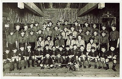 Real photographic postcard of Boy Scouts - Groep VII Harlem - unused