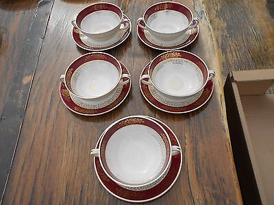 5 Vintage John Maddock Ivory Ware 2 Handled Soup Bowls and Saucers Burgundy/Gold
