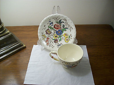 Vernonware Pottery Vintage Cup & Saucer Colorful Mayflower Floral Pattern