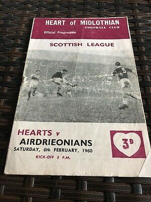 Hearts V Airdrie Scottish League 1,,6th Feb 1960