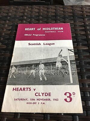 Hearts V Clyde Scottish League 1,,10th November 1962