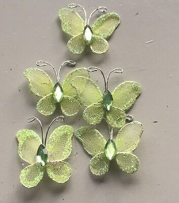 5pc Wire Craft Embellishments Green Glitter Butterfly's