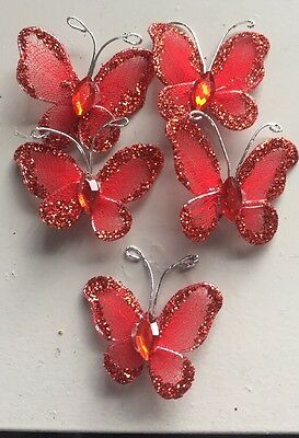 5pc Wire Craft Embellishments Red Glitter Butterfly's