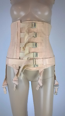 Vintage 1950s Boned Surgical Corset Open Bottom Girdle Four Garters Small