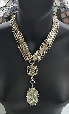 Antique Victorian Book Chain Sterling Silver Etruscan Locket Necklace 109 grams