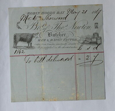 Robin Hoods Bay, Near Whitby, Old Butchers Invoice From 1867