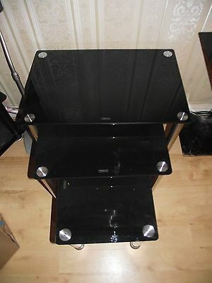 set of 3 black glass coffee table